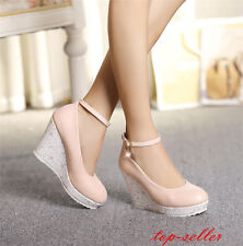 Classic Women Ankle Strap High Wedges Heels Platform Round Toe Dress Shoes Size