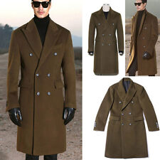 Men's Jacket Casual Wool Blend Double-Breasted Thick Long Trench Coat  Outwear