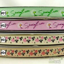 "3/8"" 9mm Daisy Rose Flower Spring Grosgrain Ribbon 5/50yards Craft DIY Sewing"