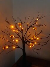 2 x Spooky Halloween Party/Prop 24 Orange LED Pumpkin Trees Lights/Window/Table