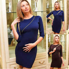 Women Casual Half Sleeve Plain Bodycon Dress Crew Neck Party Cocktail Mini Dress