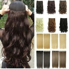 Top Thick One Piece Clip In On Hair Extensions Remy Style Brown Blonde Gray T8Z