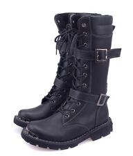 Fashion Mens Lace Up Buckle Mid Calf Combat Military Leather Boot Vintage Shoes