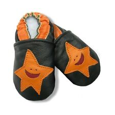 Chaussons Cuir Souple / Motif SMILE ORANGE