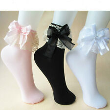 6 Pairs Girls Princess Cotton Socks Lace Floral Bows Ruffle Frilly Ankle Socks
