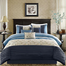 Deluxe Shine Navy Blue Taupe Floral 7 pcs Comforter Set Cal King Queen New
