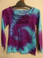 GIRLS GORGEOUS LONG SLEEVE TIE DYE / DYED HIPPY AWESOME FUNKY TEE SHIRT SIZE 5