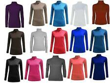 Ladies Womens Plain Long Sleeve Turtle Polo Roll Neck Tunic Top Lot Shirt 8-26