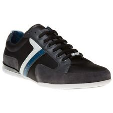 New Mens BOSS Green Grey Spacit Nylon Trainers Lace Up