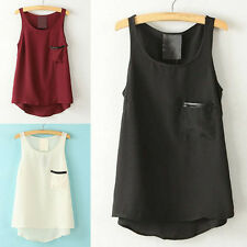 Chiffon Women Summer Crew Neck Loose Vest Pocket Sleeveless Tops T-shirt Blouse