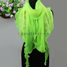 Elegant Fashion Striped Dot Lace Trim Stitching Viscose Long Scarf Shawl Wrap