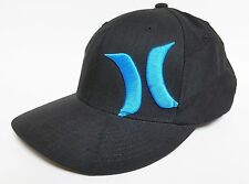 HURLEY SMITH 3 Hat FLEXFIT Black Cyan ($32) NEW Pinstriped Patch Cap Surf Skate