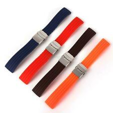 16-24mm Silicone Rubber Soft Watch Strap Deployment Buckle Band Strap Waterproof