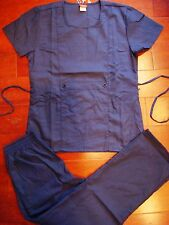 930 Denice New Navy Blue Fashion Top and Pant Nurses Uniform Scrubs Set S M L XL