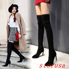 Sexy Women Stiletto Heel Pointy Toe Over Knee High Boots Shoes Strench Silm Leg
