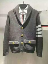 Thom Browne men's pop four bars preppy sweater wool blend gold button cardigan