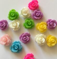 30 x 10 mm small resin rose flower flat back cabochon Assorted colours FREE POST