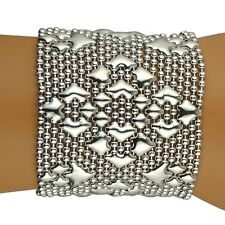 "NEW Sergio Gutierrez Liquid Metal Bracelet Silver B107 2"" Wide Diamond Mesh Cuff"