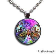 Glass Dome Bezel Pendant and Chain Necklace Watercolor Butterfly AN110