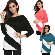 Fashion Women's Batwing Sleeve Blouse Loose T-Shirt Long Splice Autumn Tops NEW