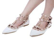 Women Flat Pointed Toe Studded Ankle Strappy Patent Leather Rivet Shoes SCA