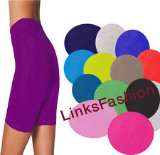 LADIES WOMENS PLAIN COTTON CYCLING GYM DANCE STRETCHY SHORTS LOT KNICKERS PANTS