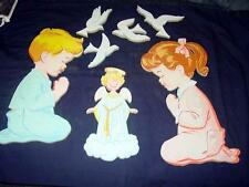 Vintage - Dolly Toy's Compressed Cardboard - PrGirl, Boy and Doves Wall Hangings