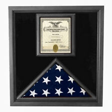 Flag and Certificate Case Black Frame, American Made Hand Made By Veterans