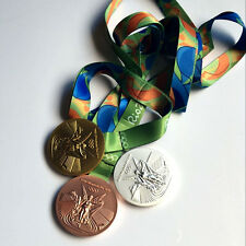 Brazil Rio 2016 Olympic Winners Replica Medals With Ribbon Souvenir