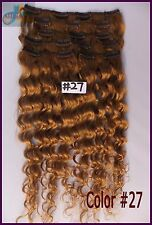 170g Curly Wavy Virgin Real Human Hair Extensions Clip In Deep Hair #27 Blonde