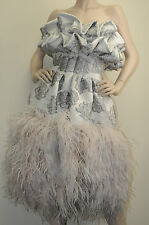 $27,930! New Alexander McQUEEN Grey w pink nude ostrich feathers Gown DRESS 40 4