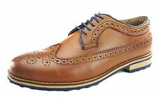 Silver Street Cannon Tan Mens Long Brogue Rounded Toe Sole Leather Shoes