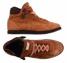 KITON NAPOLI Handmade Brown Suede Leather Casual Hiking Tracking Boots Shoes NEW