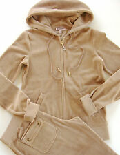 Juicy Couture Velour Tracksuit J Bling Hoodie Pocket Pants Mimi Beige Khaki