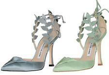 $1025  New Manolo Blahnik Boltase Grey Satin Leaf Strappy Shoes 39.5 40 40.5 41
