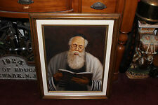 Superb Jewish Judaism Oil Painting-Rabbi Reading Bible-Signed OSIY-Framed-LQQK
