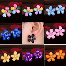 Fashion Flower Women Girls Crystal Rhinestone Stud Earrings Wedding Party + Box