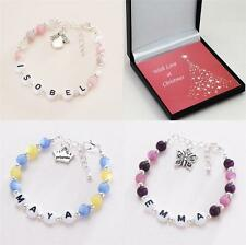 Girls Personalised Name Bracelets in Christmas Gift Box, Princess, Angel etc