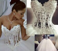 White/Ivory tulle Bridal Gown Formal Wedding Dress Stock Size 6 8 10 12 14 16 18