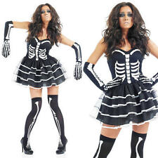 Ladies Sexy Skeleton Fancy Dress Costume Halloween Skull Outfit UK 8-30