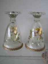 Vintage Pipecleaner Angel PAIR of Glass Candleholders 1950's era