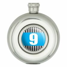 Round Stainless Steel 5oz Hip Flask Birthday Party Stripes Blue