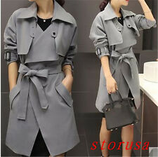 Korean Women Lady Loose Mid Long Trench Coat Belt Bowknot Overcoat Size Hot
