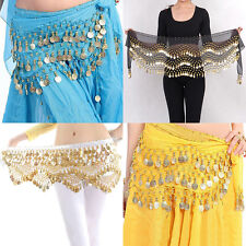 New Chiffon Belly Dance Hip Scarf 3 Rows Coin Belt Skirt TFV