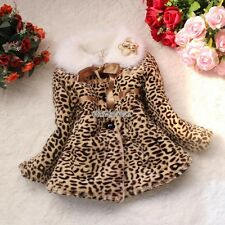Baby Kids Girls Leopard Faux Fur Fleece Lined Coat Outerwear Winter Warm Jacket