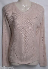 MARKS & SPENCER AUTOGRAPH LADIES PALE PINK CHUNKY KNIT JUMPER WITH WOOL 8 -18