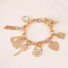 Gold/Silver/Rose Gold Plated Crystal  Lock Tassels  Chain Pave Bracelets