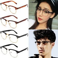 Unisex 4Color Vintage Half Frame Clear Lens Glasses Nerd Geek Eyewear Eyeglasses