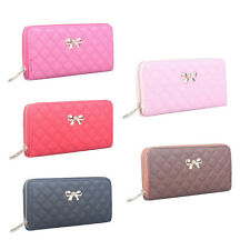 Fashion Zip Clutch PU Leather Wallet Purse Coin Card Bag Bowknot Long Wallet gvg