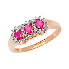 Diamond & 3 Oval Ruby Cluster Ring Yellow Gold UK Made to Order Size R - Z